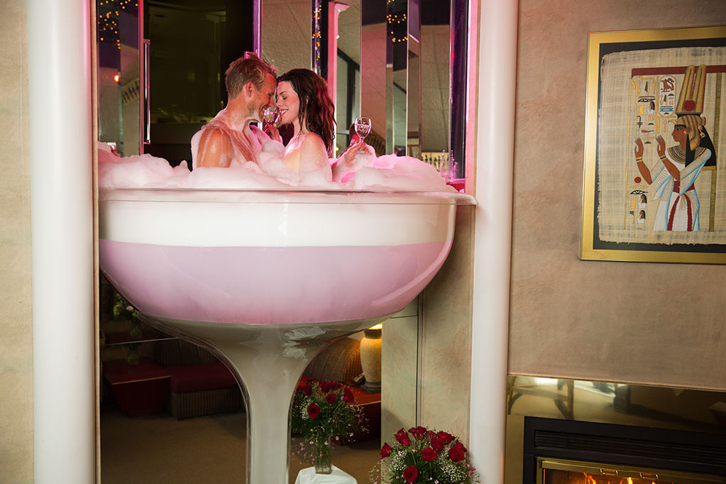 Hotel Room With Champagne Glass Hot Tub
